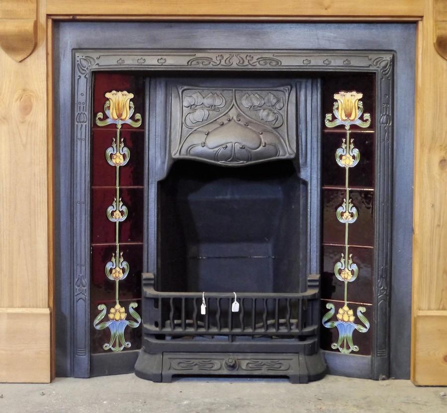 Repro Art Nouveau Tiled Cast Iron Insert Image