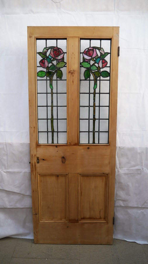 4 Panel Stained Glass Pine Door Chester Paint Stripping