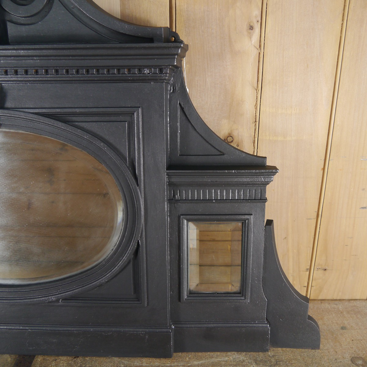Antique Cast Iron Overmantle With Oval Mirror Chester